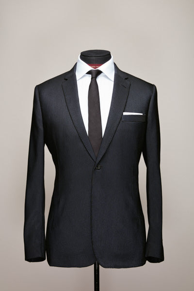 Midnight Blue Notch Lapel Jacket with Vertical Pockets