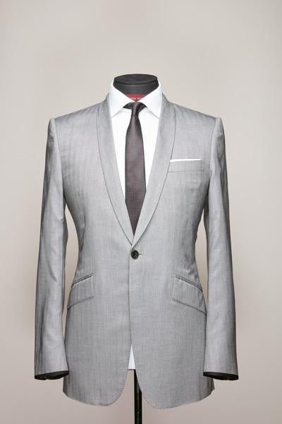 Light Grey Royal Silk Narrow Shawl Lapel Suit