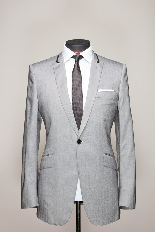 Light Grey Royal Silk Peak Lapel Suit