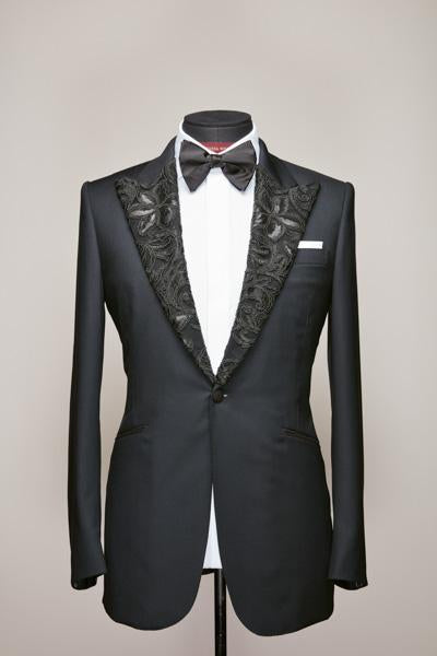 Black Lace Peak Lapel Tux Jacket