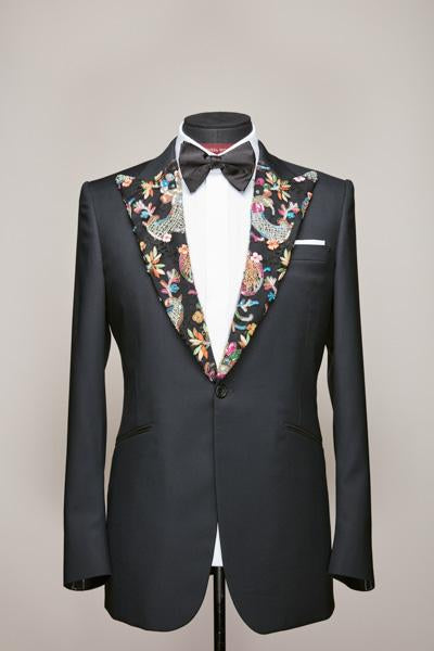 Haute Couture Lace Peak Lapel Midnight Blue Jacket