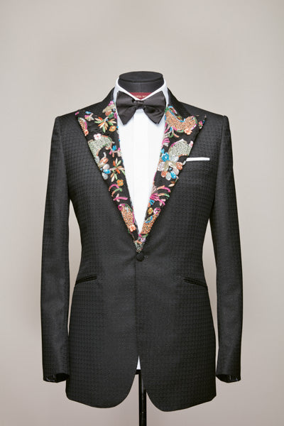 Haute Couture Lace Peak Lapel Black Jacket