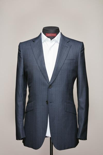 Mid Notch Two Button Mid Blue Wool Suit