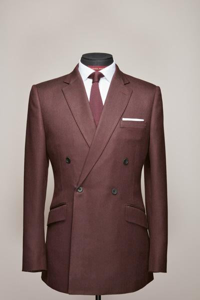 Mid Notch Double Breasted Claret Cashmere Suit