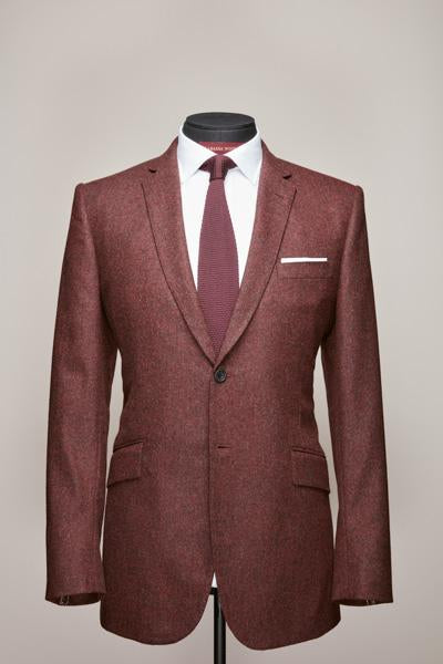 Narrow Notch Two Button Burgundy Flannel Suit
