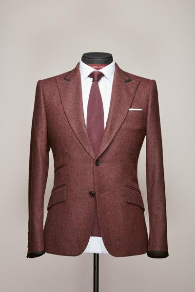 Mid Peak Two Button Burgundy Flannel Suit