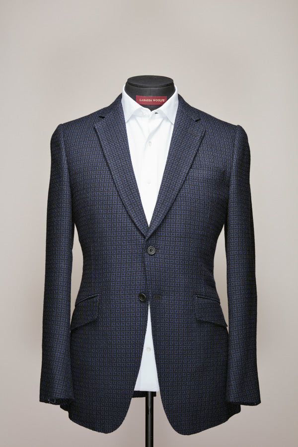 Navy/Light Blue Pattern Wool Blazer