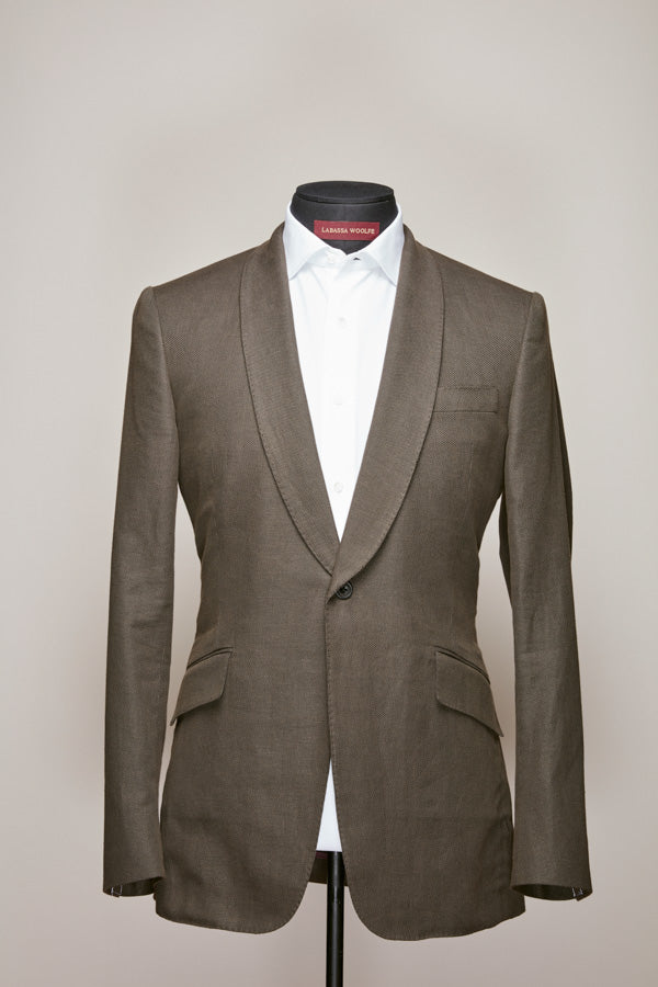 Brown Cotton Linen/Silk Blend Shawl Lapel Suit