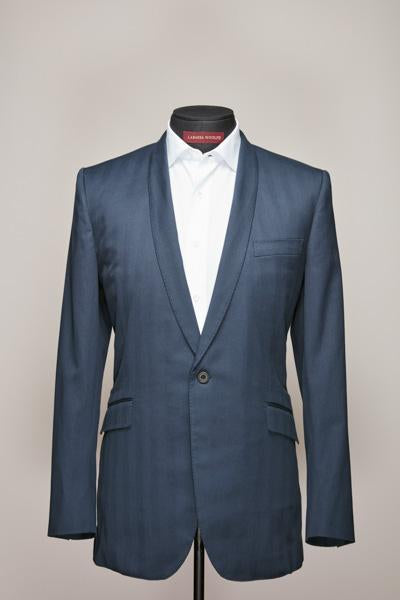 Blue Cotton Herringbone Narrow Shawl Jacket