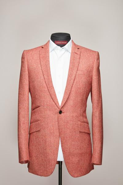 Salmon Herringbone Harris Tweed One Button Suit