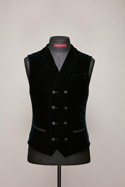 Eight Button Midnight Blue Velvet DB Waistcoat