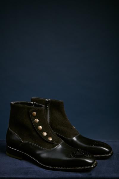 Black Suede and Leather Button Snap and Side Zip Boot