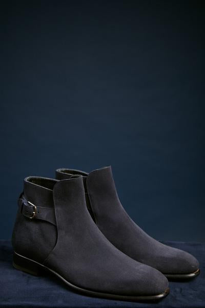 Blue Suede Buckle Ankle Boot