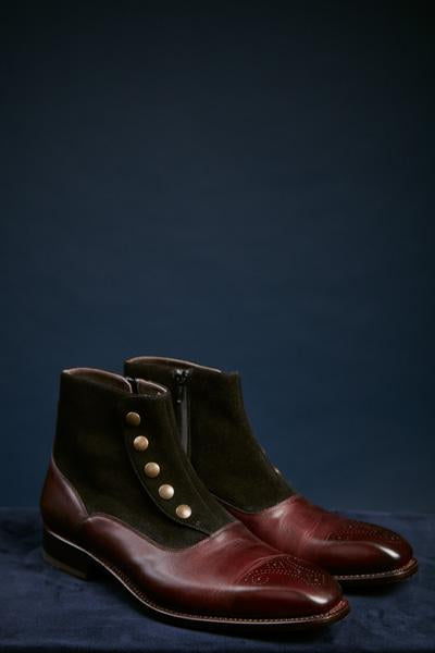 Black Suede and Burgundy Leather Button Snap Ankle Boot