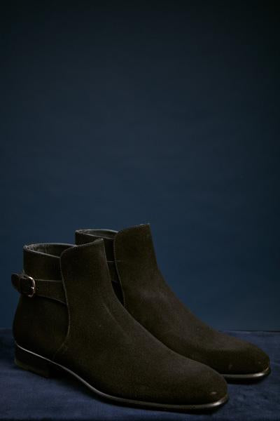 Black Suede Buckle Boot