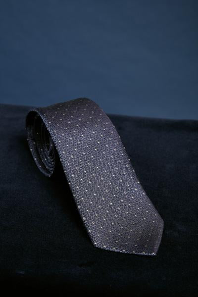 Midnight Blue Pattern Silk Tie