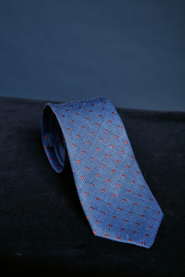 Blue Silk Red Spot Tie