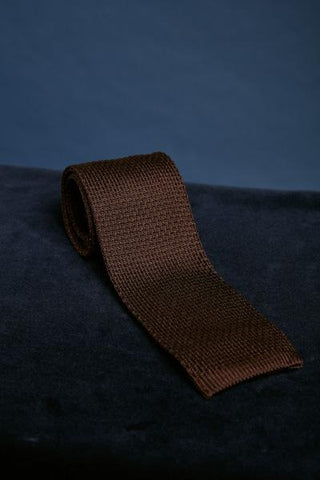 Dark Brown Knitted Silk Tie