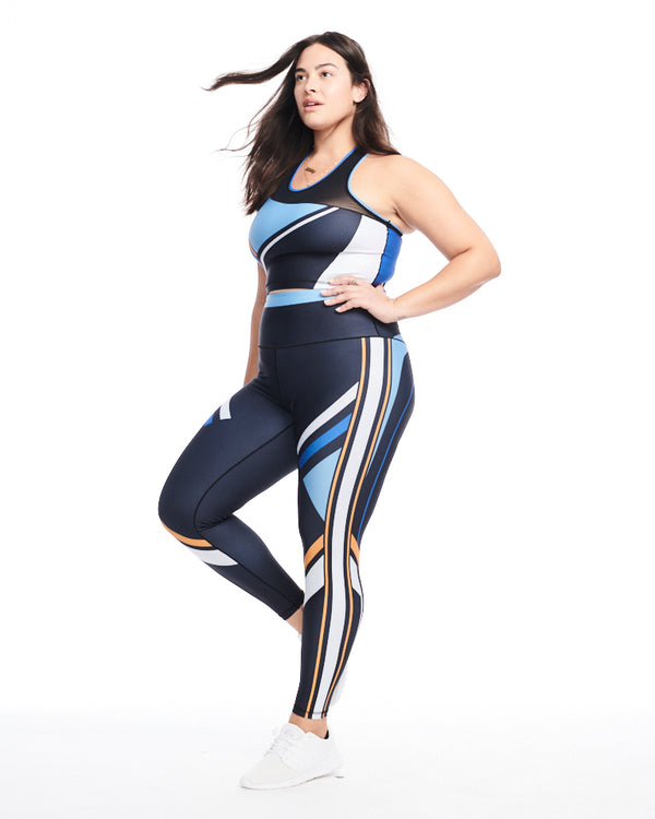 Color Block Performance Crop (Blue)