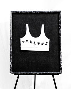 Meditation Double Scoop Sports Bra (White)
