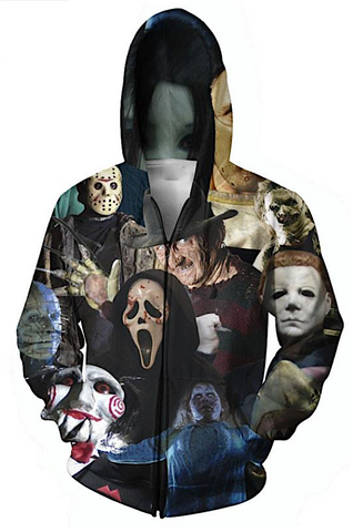 Mens Horror Movie Hoodie 3D Full Print Horror - Movie Sweatshirt Hoodie