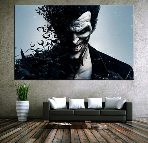 JOKER Wall Art Canvas - Movie Poster Batman Joker Poster Print On Canvas