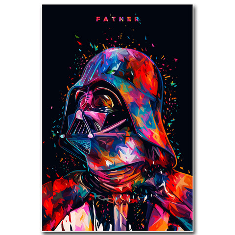 DARTH VADER Star Wars Wall Art - Darth Vader Fabric Movie Picture Art for Home Decor