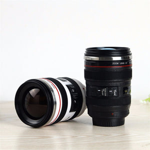 24-105mm Camera Lens Shape Coffee/Tea Travel Mug - Stainless Steel Vacuum Flask Cup