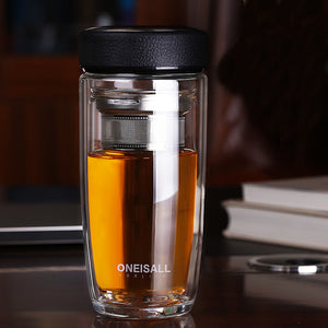 High Quality Double Wall Glass Tumbler with Tea Filter/Infuser