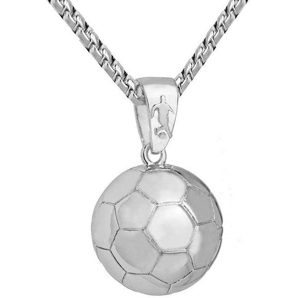 Mens Football Pendant - Mens Soccer Ball Stainless Steel Chain