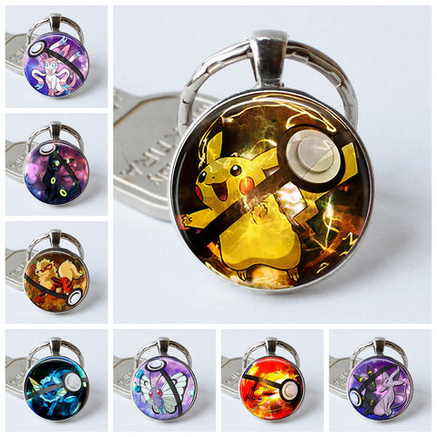 Pokemon Pokeball Silver Plated Keychains - Round Glass Dome - Gift Go