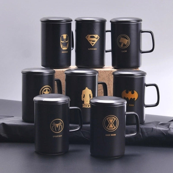 Superhero Black Coffee Mugs With Lid & Spoon - Superman Spiderman Batman Mugs