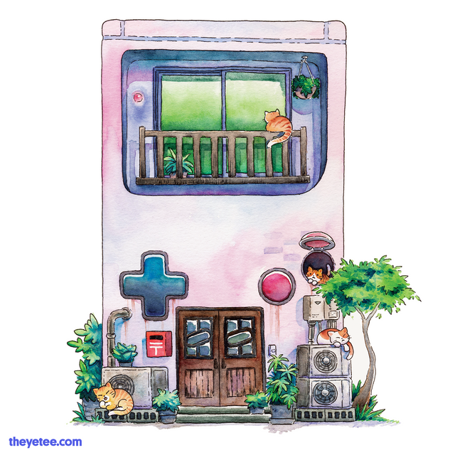 Watercolor style design of an 8-bit handheld game console turned home. Four orange cats sunbath throughout the exterior.  - 1989 Dot Matrix Lane