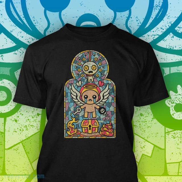 Black Tee with stained glass style art Binding of Isaac's Isaac character with wings - Isaac Glass