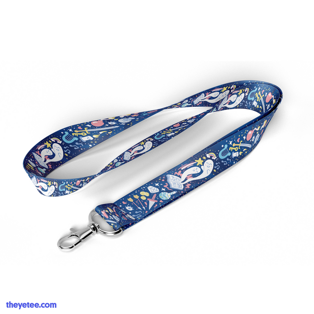Dark blue 900mm x 20mm lanyard features many of Aureylian the Enchantress' magical items - Glitterdust Lanyard