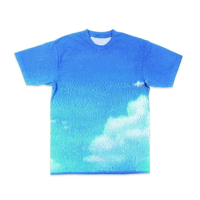 Look at the sky, isn't it neat? An all over design of a blue sky with white clouds on a short-sleeve tee. Due to the sublimation technique, white streaks along the sides and underarms is common. - Blue Sky VHS