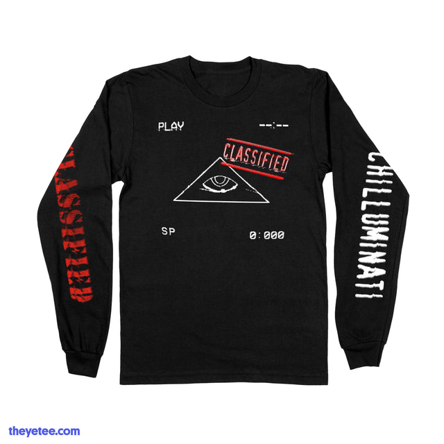 Black longlseeve with three print locations. Classified is printed in red while Chilluminati is printed on opposite sleeve. - Classified Longsleeve