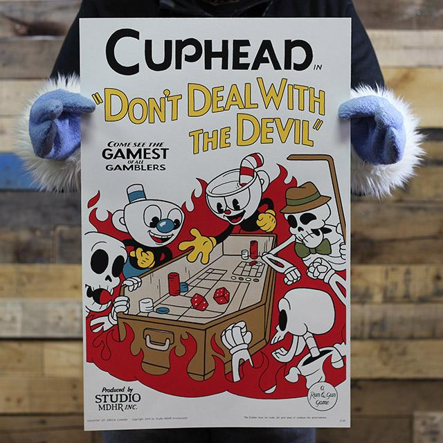 "Colored poster of Cup Bros rolling dice on coffin shaped casino table. Text above: Cuphead: Don't Deal With The Devil"". - Craps in Hell: Special Edition"