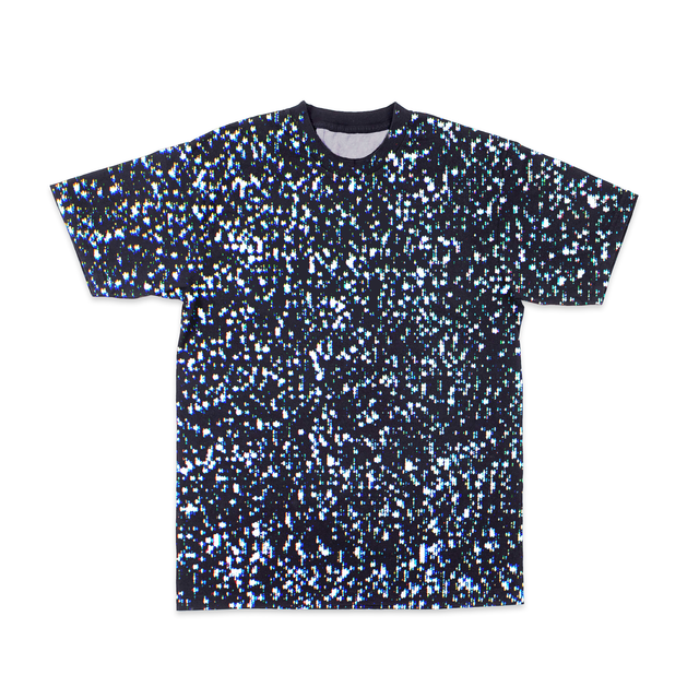 Crewneck tee with all-over random dot pixel pattern of static.  - CRT FUZZ TEE