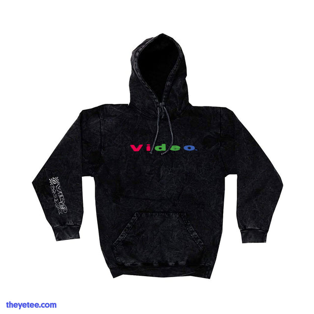 "Black mineral wash hoodie with two print locations.  ""Video"" printed on the chest. Video-20XX logo printed on the sleeve.  - RGB Video Hoodie"