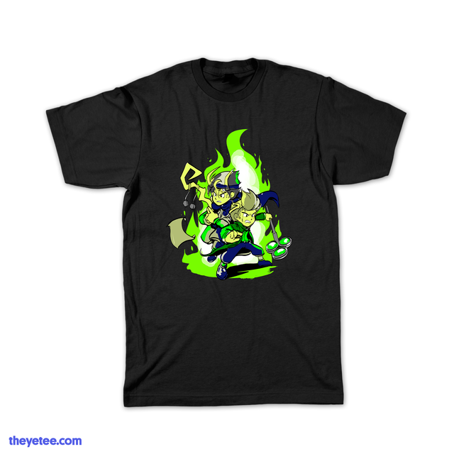 Black tee shirt  featuring Rez PLZ characters wizard brothers Arcan and Zeph in front of green flame of magic - Need Healing!
