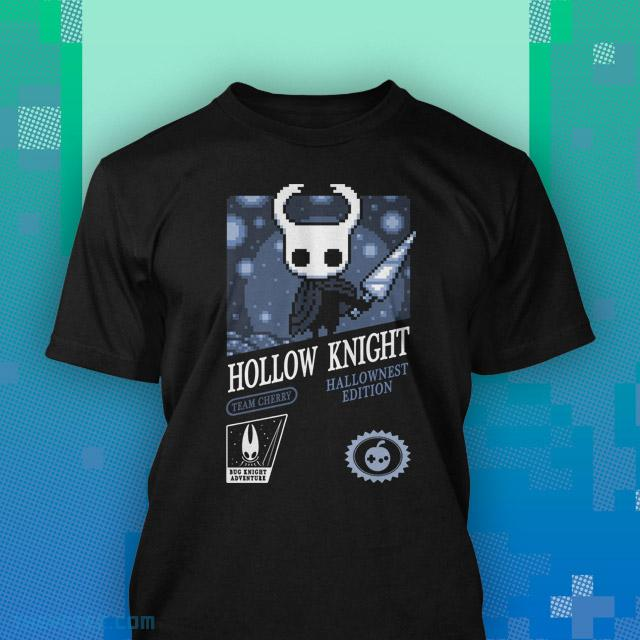 Black tee shirt. 8-Bit style design of the Knight in Hallownest holding Old Nail. - Hollow Knight Retro