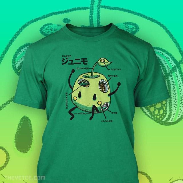 Green tee of green Junimo in a classic Japanese Kaiju anatomy artwork style - Junimo Anatomy
