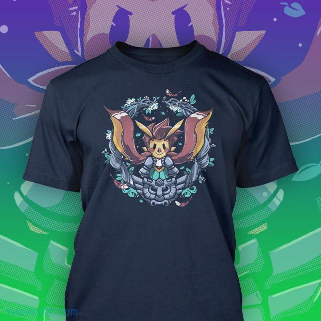 Navy Blue tee with Owlboy character with owl flight cloak - Otus!