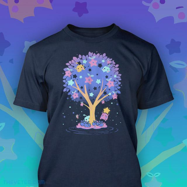 Navy tee of Stardew Valley's Junimos climbing the Stardrop tree harvesting the mysterious stardrop fruits - Stardrop Harvest