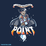 "Navy shirt. ProZD's character Archibald wields sword with caption,"" I think that enemy got... the point!"" - The Point"