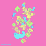 Pink tee shirt. Characters in yellow lounge with blue kitties. Ground appears as green diamonds of grass.  - Battle Chef Pink