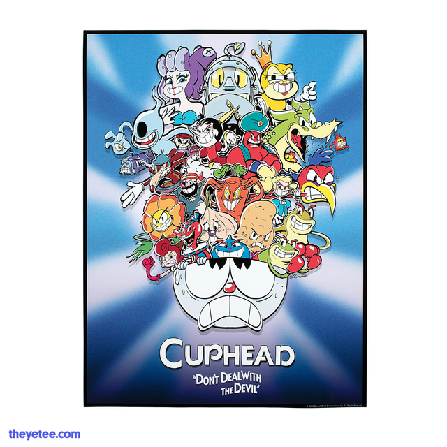 All of the bosses within the game towering within Cuphead's head. Below Cuphead text reads Cuphead Don't Deal With The Devil.  - Boss Rush Print