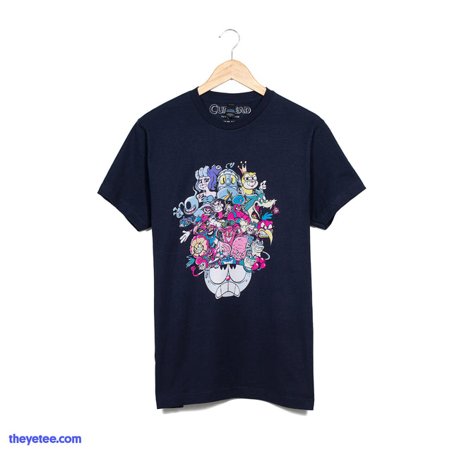 Navy tee shirt. All of the bosses within the game towering within Cuphead's head.  - Boss Rush Tee