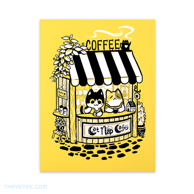 Cat Nap Cafe Screenprint